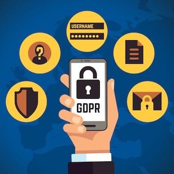 一般的なデータ保護規制インターネットアイデンティティヨーロッパのビジネスコンセプト