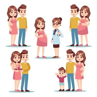 Счастливой беременности беременная женщина мама, мужчина отец и здоровый прекрасный новорожденного ребенка.