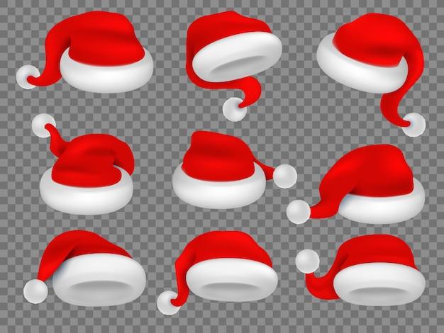 クリスマスサンタクロースの帽子。冬のクリスマスの休日の帽子。
