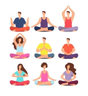 瞑想の人々。ヨガとピラティスのクラスでグループで瞑想する男女。