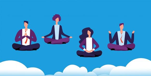 瞑想ヨガグループ。ロータスポーズでリラックスして瞑想するビジネスチーム。