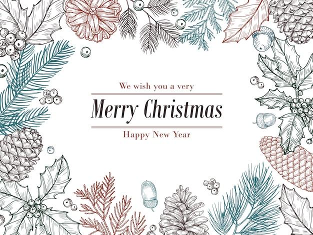 クリスマスビンテージ招待。冬のモミの松の枝、松ぼっくりの花のボーダー。