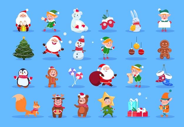 冬のキャラクター。漫画のサンタ、エルフ、冬のクリスマス動物、雪だるま、子供たち。