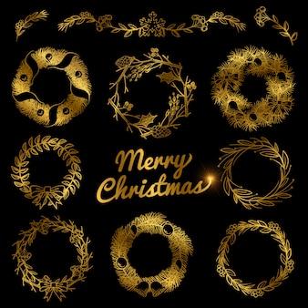 ゴールドのクリスマス手描きの花輪、ボーダーフレーム