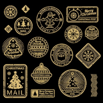 Новый год и рождество вектор старинные марки на черном