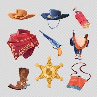 カウボーイまたは西部保安官のアクセサリー