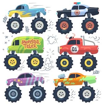 Автомобили монстров. мультипликационные машины с большими колесами. изолированный векторный набор