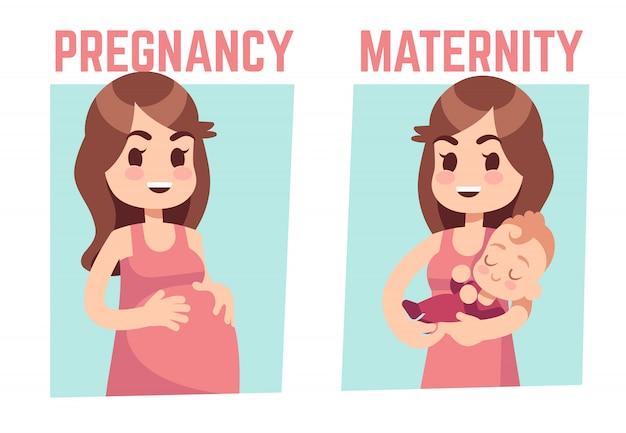 Концепция беременности и материнства. молодая беременная женщина и счастливая мать с новорожденным. векторная иллюстрация
