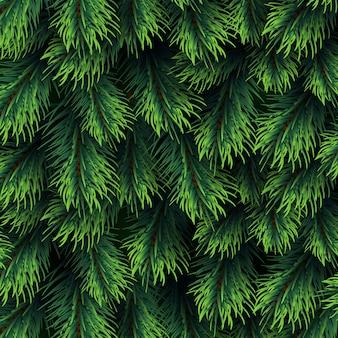 Шаблон ветви ели. рождественский фон с зеленой сосновой ветвью. с новым годом векторный декор