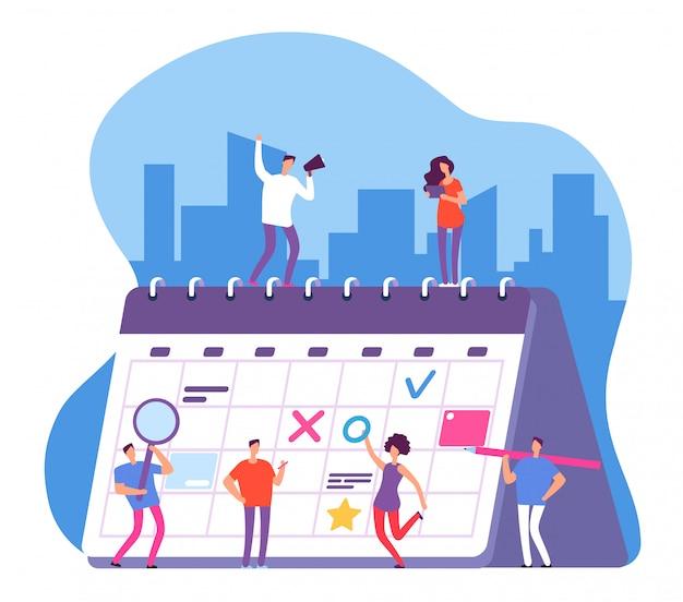 Люди и календарь. график предпринимательской деятельности, планирование работы. персоны с доской-органайзером