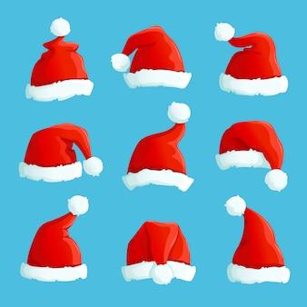 サンタの帽子。漫画の毛皮のクリスマスコスチュームキャップ