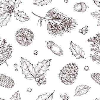 クリスマスのシームレスなパターン。松ぼっくりと冬のモミと松の枝。伝統的な彫刻スタイルのビンテージ壁紙