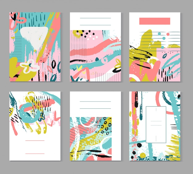 抽象的なスケッチと絵画のパターン。現代のファッションテクスチャ。夏の装飾ポスター