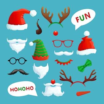 クリスマスの写真ブース。サンタ帽子ヒゲひげとトナカイの角クリスマス小道具コレクション