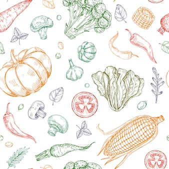 野菜のシームレスなパターンをスケッチします。野菜スープ有機農場食品植物の背景