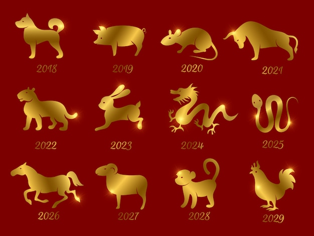 Золотой китайский гороскоп зодиака животных. символы года, изолированные на красном фоне