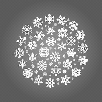 白い雪ラウンド透明な背景に分離されたバナー