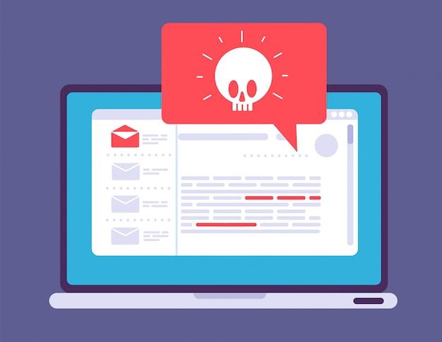 ノートパソコンのウイルス警告コンピューター画面上のマルウェアトロイの木馬通知ハッカー攻撃と安全でないインターネット接続の概念