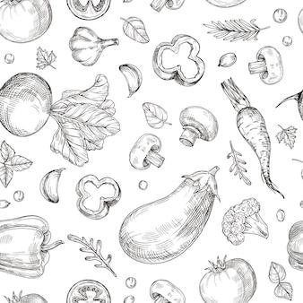 野菜の手描き下ろしシームレスパターン。新鮮なベジタリアン料理、庭の野菜。