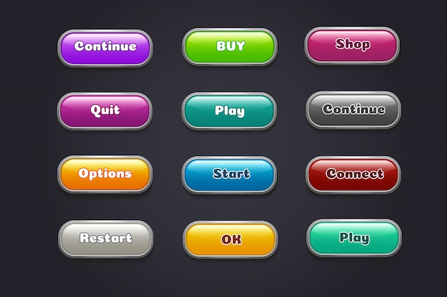 Мультфильм кнопки. красочные элементы видеоигры пользовательского интерфейса.