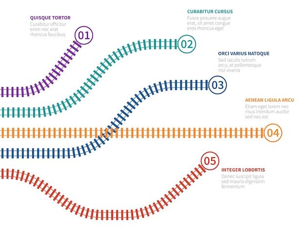Железнодорожные пути инфографики. схема опций железнодорожного отслеживания, блок-схема шага