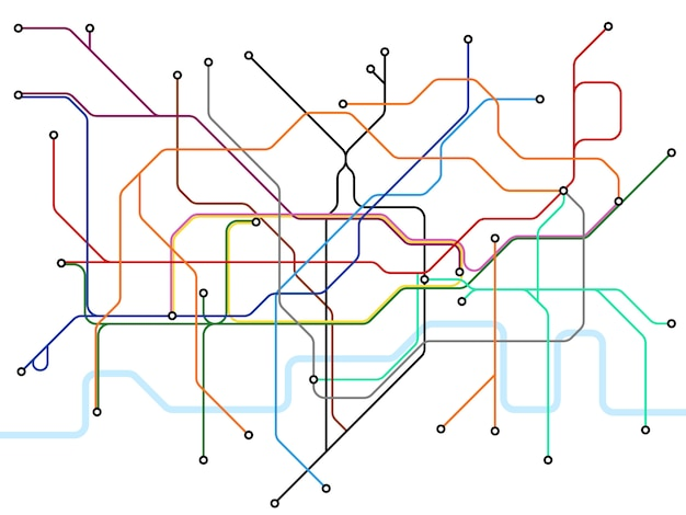 Карта лондонского метро. схема общественного транспорта метро.