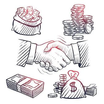握手をスケッチします。ドルパック、お金の袋、金貨、現金記号を落書き。