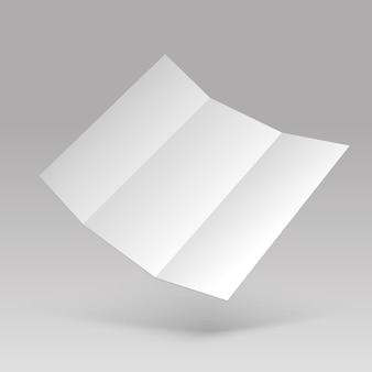 Флаер макет. пустой белый сложенный лист бумаги