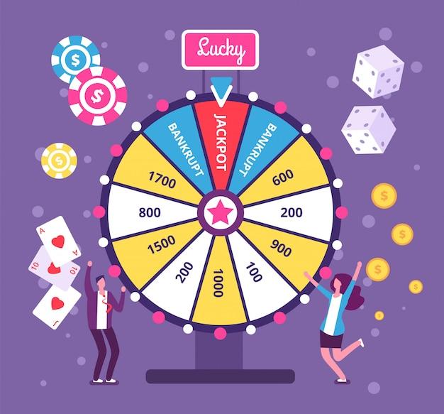 Люди играют в риск-игру с колесом фортуны и лотереей.
