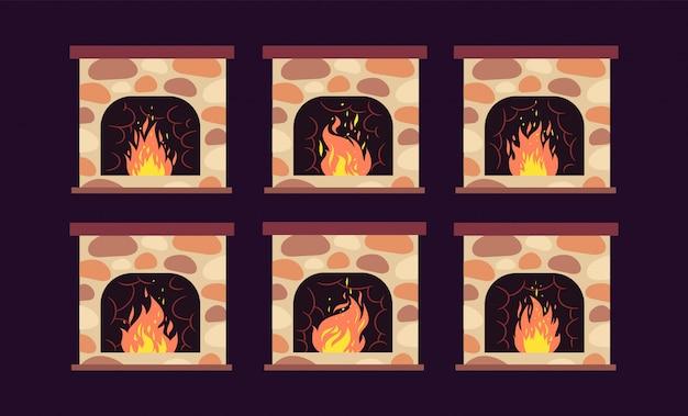 暖炉のアニメーション。火が付いている家のレトロな暖炉。