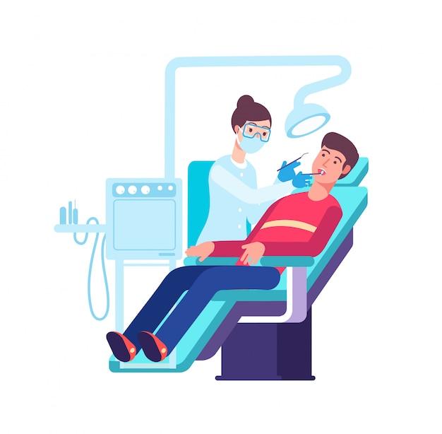 歯科医と患者。医者は患者の口をチェックします。