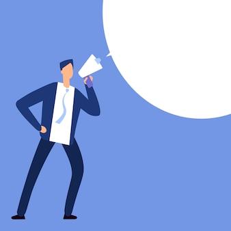 Бизнесмен с мегафоном. человек кричит в мегафоне с речи пузырь