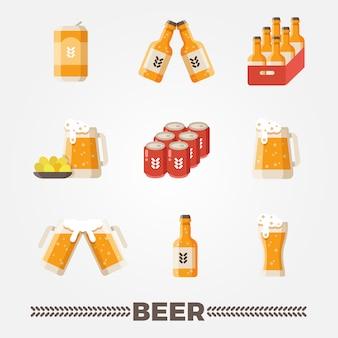 Установленные значки вектора пива плоские.
