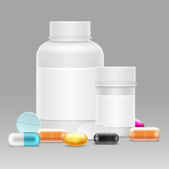 Иллюстрация медицины с реалистичными пластиковыми бутылками для таблеток и лекарств, витаминов, таблеток