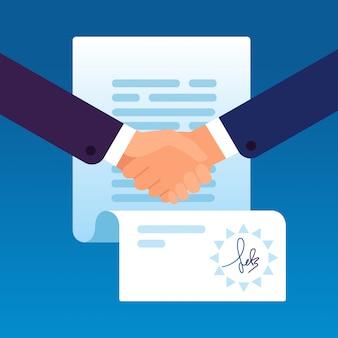 契約に署名するために握手するビジネスマン。