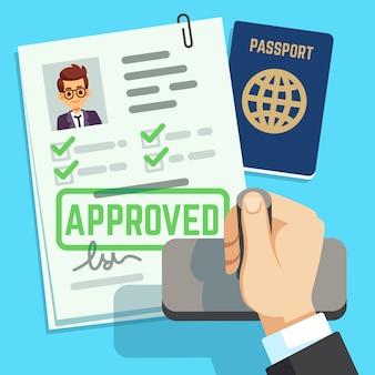ビザのコンセプト。パスポートまたはビザの申請。旅行入国スタンプベクトルイラスト