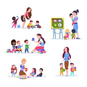 幼稚園の子供たち。教室で先生と一緒に学び、遊ぶ子どもたち。漫画のベクトル文字セット