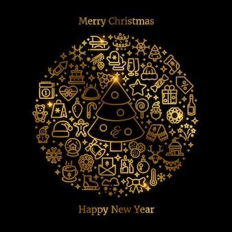 ボールのベクトル図に配置されたゴールドのクリスマスラインアートのアイコン