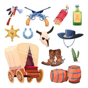 野生の西の漫画セット。カウボーイブーツ、帽子、銃。雄牛の頭蓋骨、トマホーク、ドリンク、白い背景で隔離のデザート花