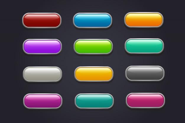 ゲームボタン。光沢のある漫画ビデオゲームボタンベクトルコレクション