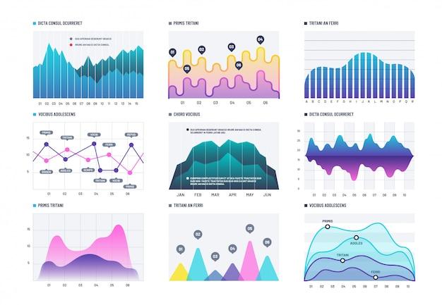 インフォグラフィック図。統計棒グラフ、経済図、株価チャート。マーケティングインフォグラフィックベクトル要素