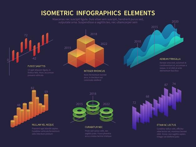 Изометрическая инфографика. графика представления, уровень данных статистики, диаграмма роста и финансовая диаграмма. вектор цифровой инфографики