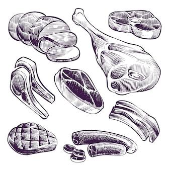 Ручной обращается мясо. стейк, говядина и свинина, мясо ягненка и колбаса старинный эскиз векторная иллюстрация