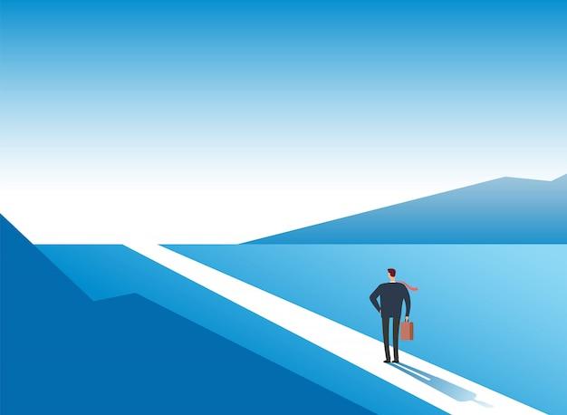 新しい方法の概念。始まりの旅の冒険と機会。屋外の道路上のビジネスマン。ビジネスのベクトルの背景