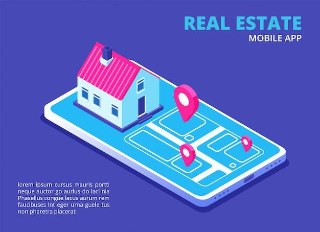 Недвижимость мобильное приложение. изометрические дом на экране мобильного телефона. поисковая техника дома для приложения телефона. концепция вектора