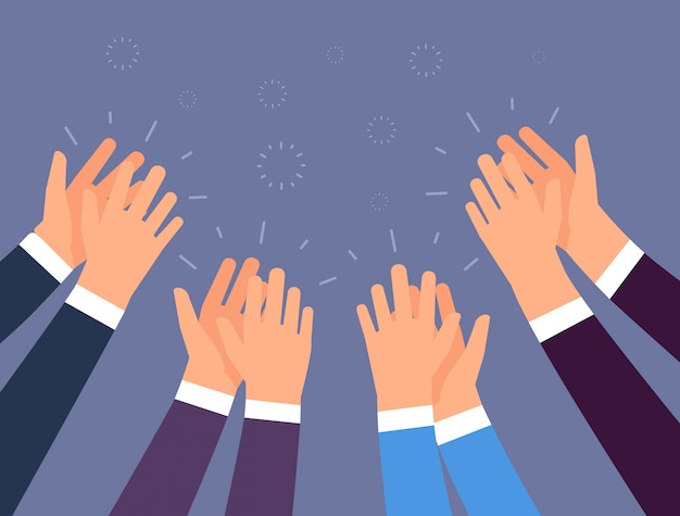 拍手。拍手する人の手。応援の手、オベーションとビジネスの成功のベクトルの概念