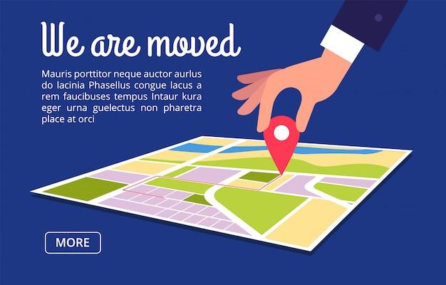 Движущаяся концепция. изменение адреса, новое местоположение на фоне векторной карты навигации