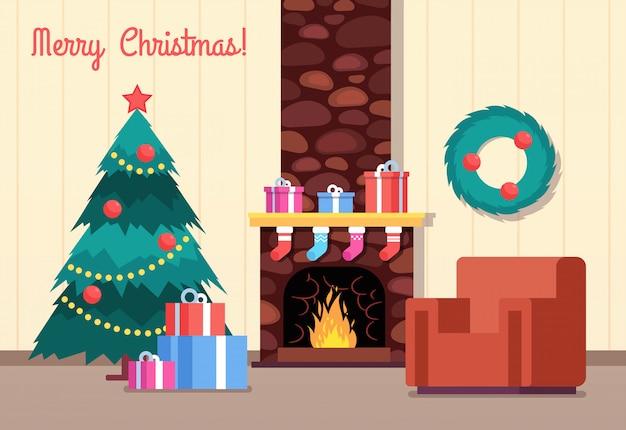 クリスマスツリーと暖炉。暖炉のあるリビングルーム。新年あけましておめでとうございます、冬の休日ベクトル漫画グリーティングカード