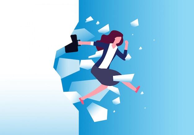 Предприниматель ломать стену. сильная женщина прыгает через барьер. свободные люди, действия и преодолеть вектор концепции