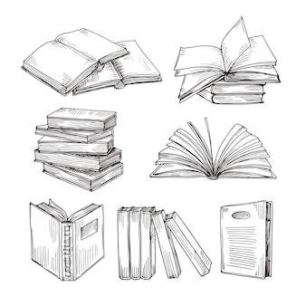 Эскиз книги. чертеж чернил винтажная открытая книга и куча книг. школьное образование и библиотека каракули векторные символы